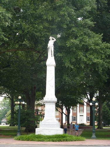 A Confederate memorial marks the entrance to the circle, where the violent standoff occured.