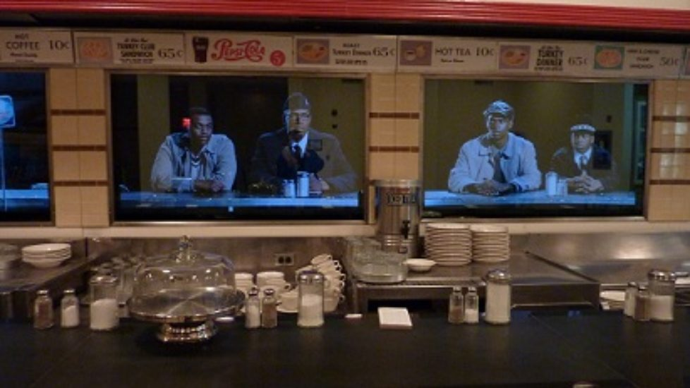 A video projected behind the actual lunchcounter shows how the Woolworth