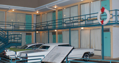 The Lorraine Motel has been recreated to reflect the scene following Dr. King