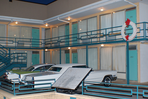 The Lorraine Motel has been recreated to reflect the scene following Dr. King's death.