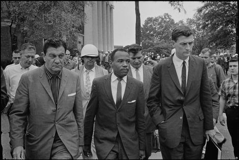 James Meredith, under federal protection, on the Ole Miss campus.