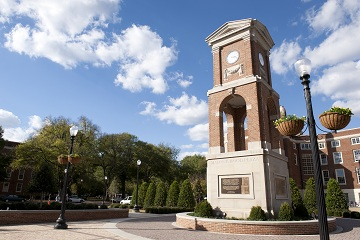 The Autherine Lucy clock tower honors the first African-American student at the university.